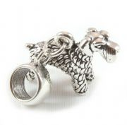 Giant Schnauzer Dog 3D Sterling Silver Dangle Charm / Carrier Bead